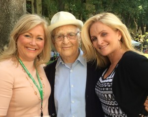 Norman Lear sandwiched between Sherri Snelling (left) and Alex Witt (right) of MSNBC