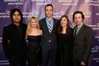 Big Bang Theory cast on the purple carpet