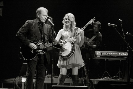 Ashley and dad Glen performing during his 2012 Farewell Tour