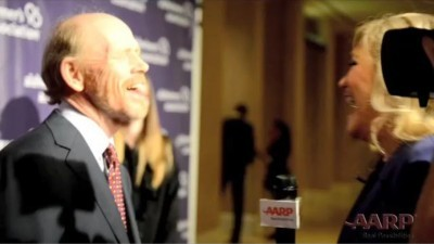 Ron Howard and I sharing a laugh during my interview at the Alzheimer's event