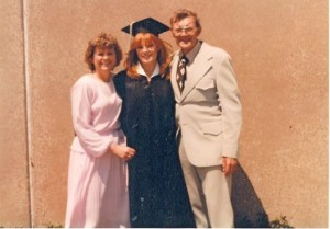 Marg at Northwestern graduation with mom and dad